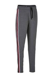 LMTD   sweatpants Roman met zijstreep grijs, Grijs/zwart/rood/wit