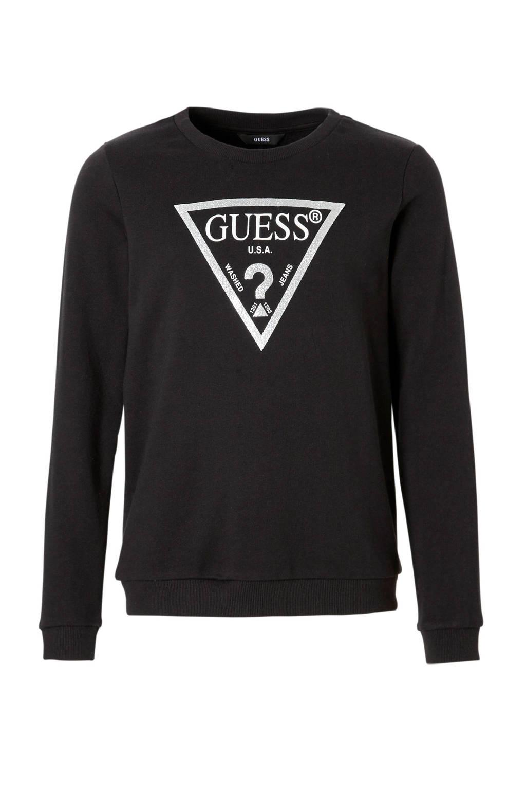 GUESS sweater met glitters zwart, Zwart/zilver