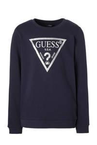 GUESS sweater met glitters blauw, Donkerblauw/zilver