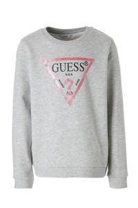 GUESS sweater met glitters grijs, Grijs melange/roze