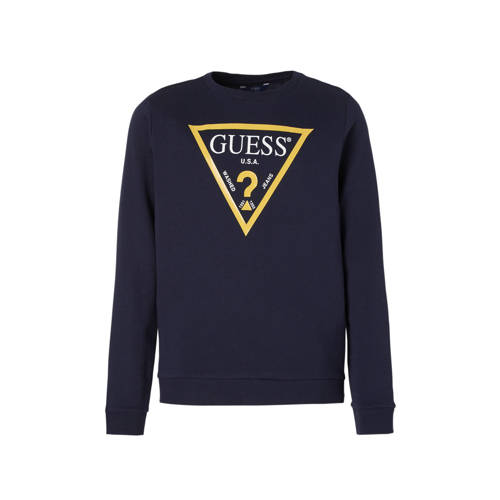 GUESS sweater met logo blauw