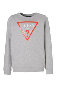 GUESS sweater met logo grijs, Grijs/rood/wit