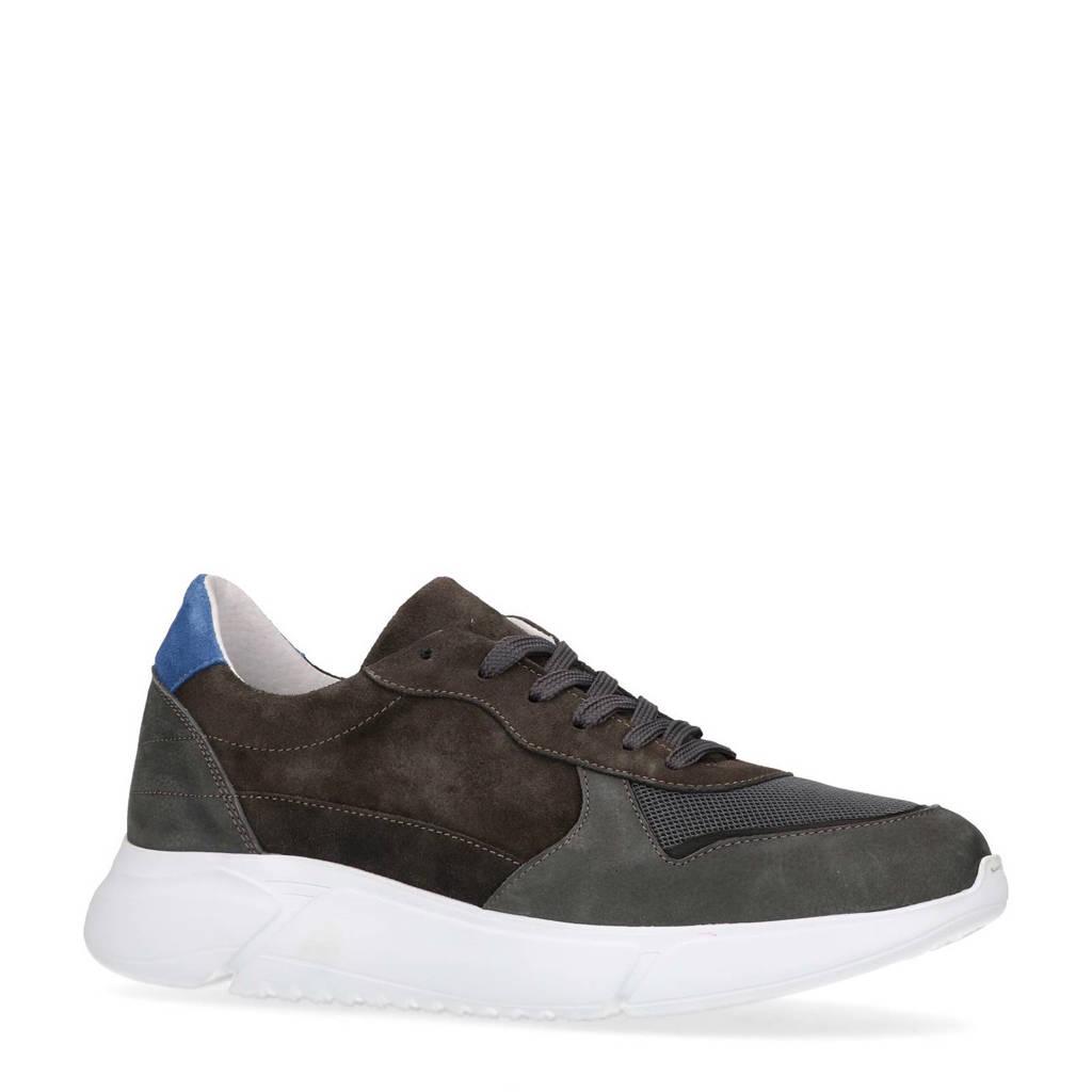 Manfield  leren sneakers met suède grijs, Grijs/blauw
