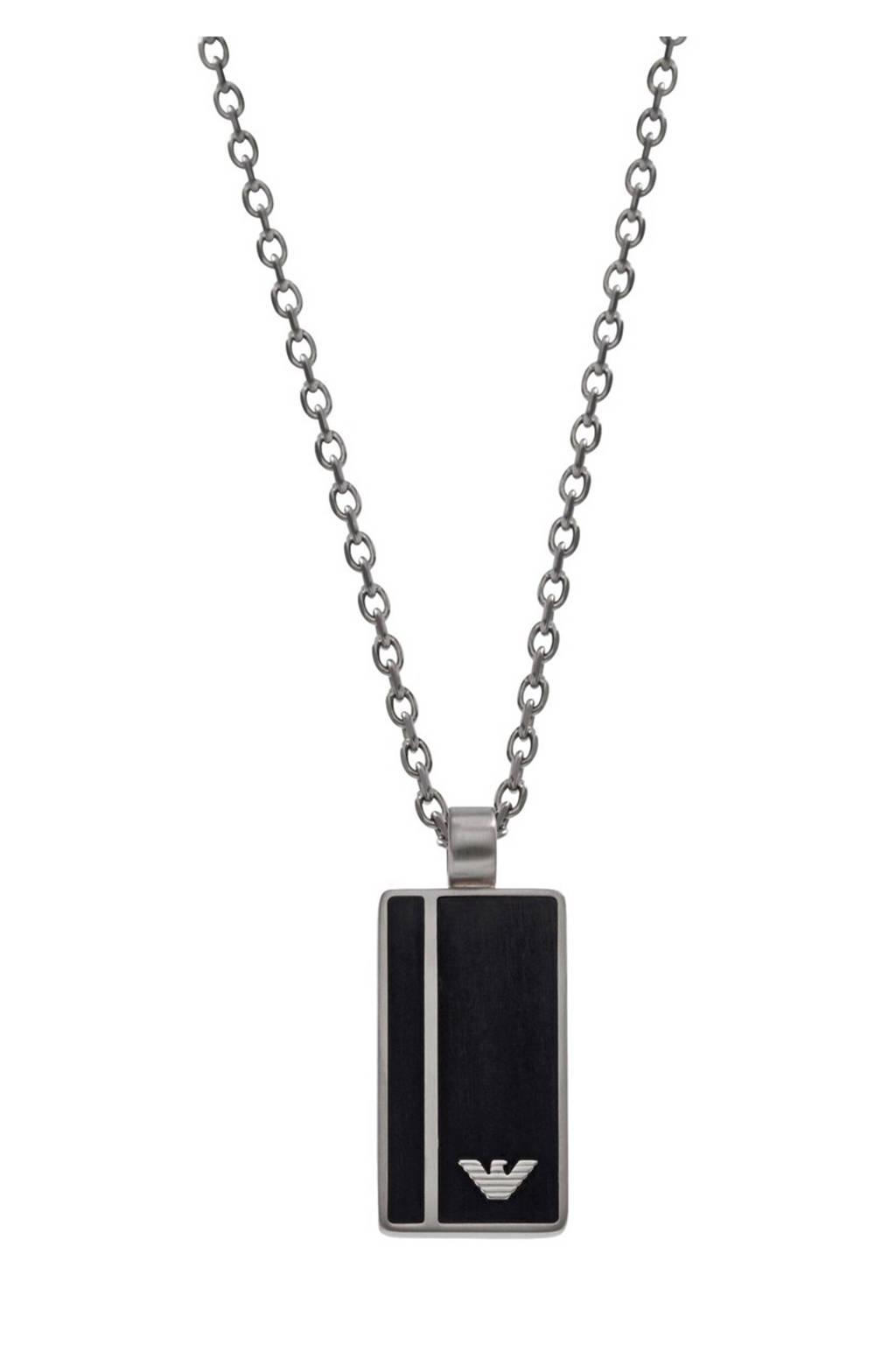 Emporio Armani ketting - EGS2031040, Zilver/zwart