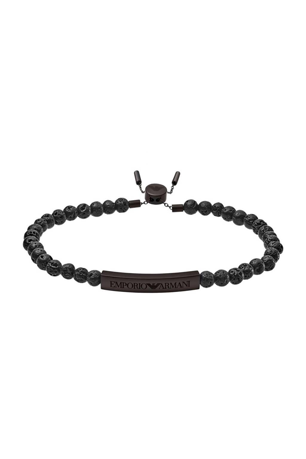 Emporio Armani Refined Rawness armband EGS2478001, Zwart