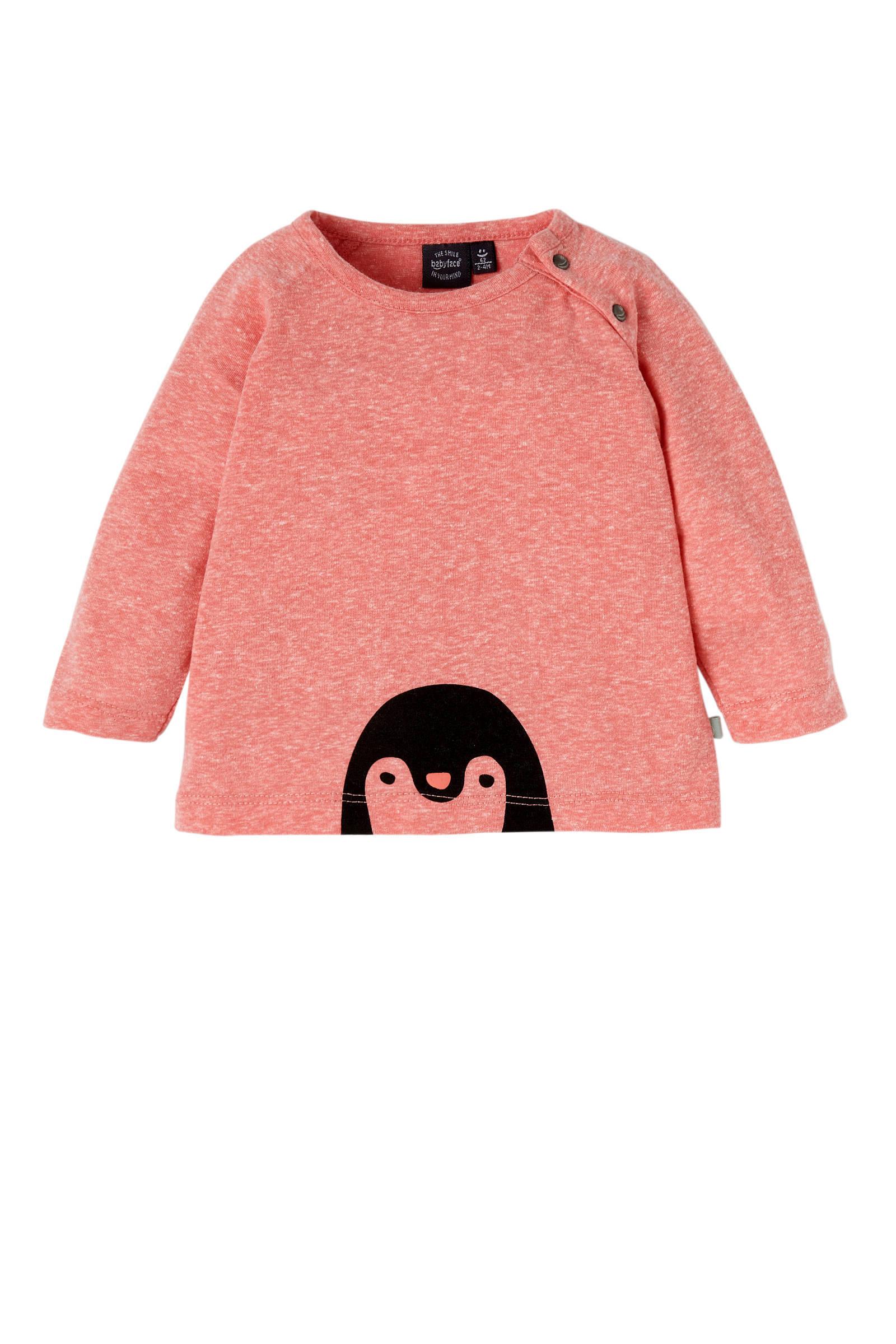 Babyface newborn longsleeve met pinguïn roze (meisjes)