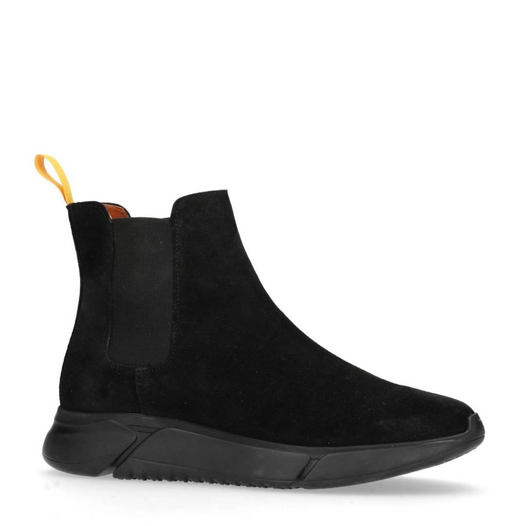 Manfield suède chelsea boots zwart, Zwart
