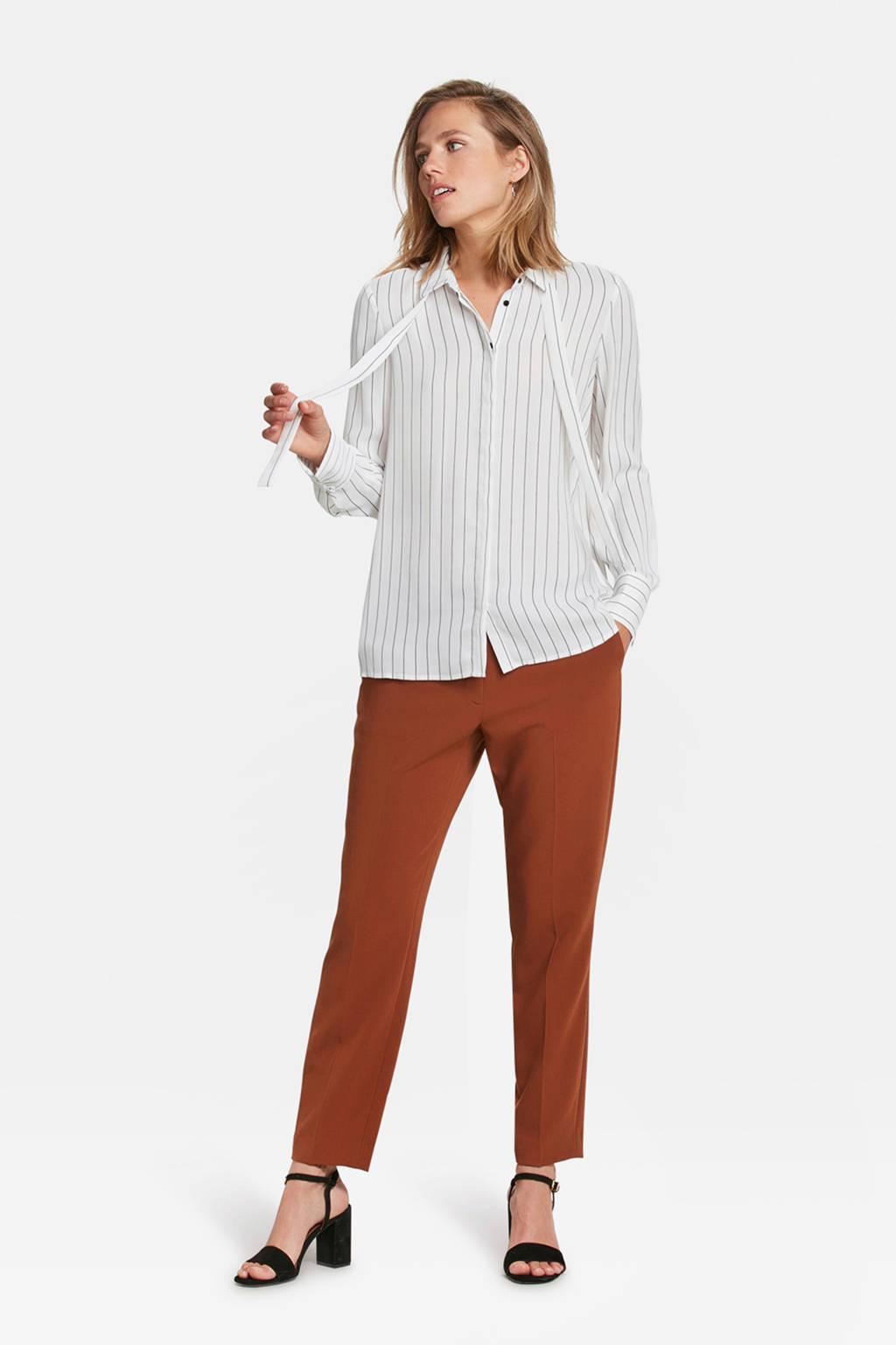 WE Fashion gestreepte slim fit blouse wit, Wit/zwart