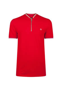 gestreepte slim fit polo rood