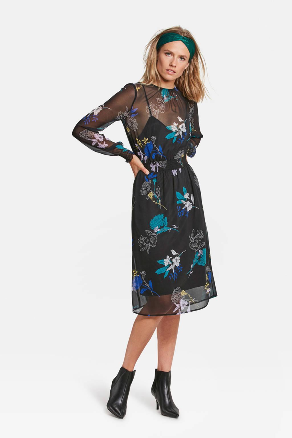 WE Fashion semitransparante jurk zwart, Zwart/turquoise