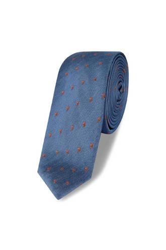 x Van Gils stropdas met dessin blauw