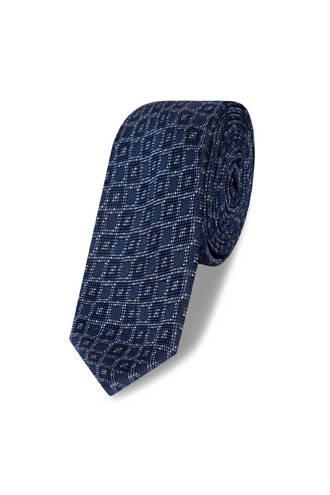 x Van Gils stropdas grafisch dessin blauw