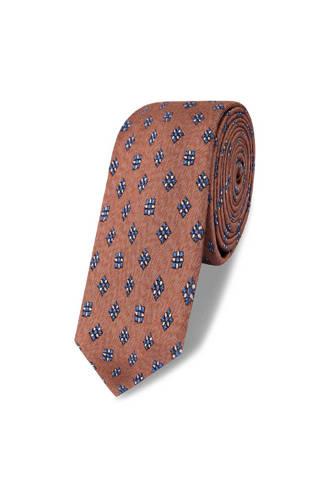 x Van Gils stropdas met dessin bruin