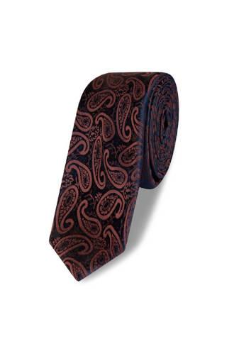 x Van Gils stropdas paisley donkerblauw