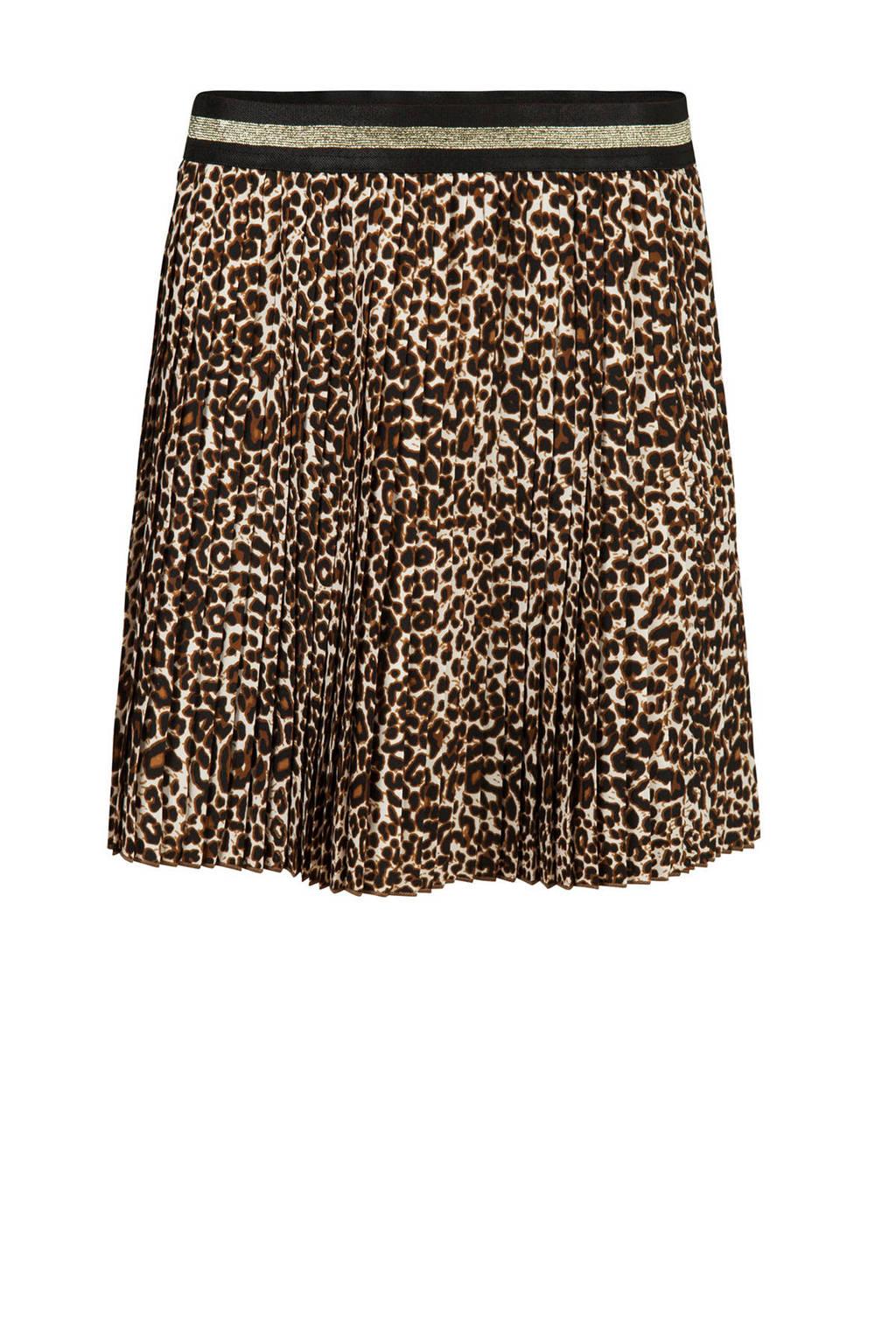 WE Fashion plissé rok met all over panterprint bruin, Leather Brown