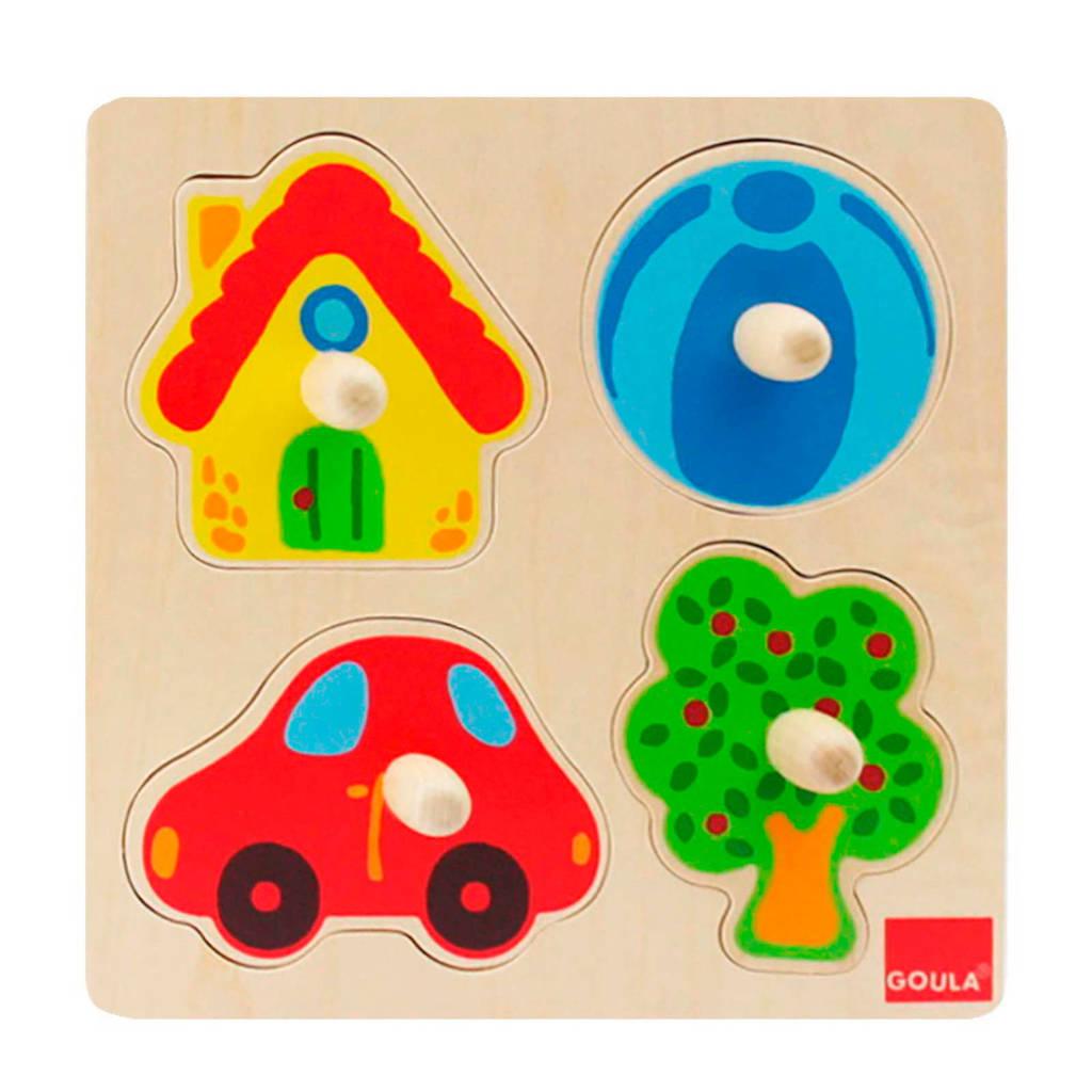 Goula noppen kleuren houten vormenpuzzel 4 stukjes