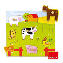 Goula houten boerderijdieren vormenpuzzel 7 stukjes