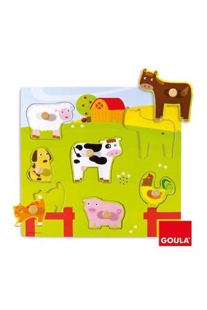 boerderijdieren houten vormenpuzzel 7 stukjes