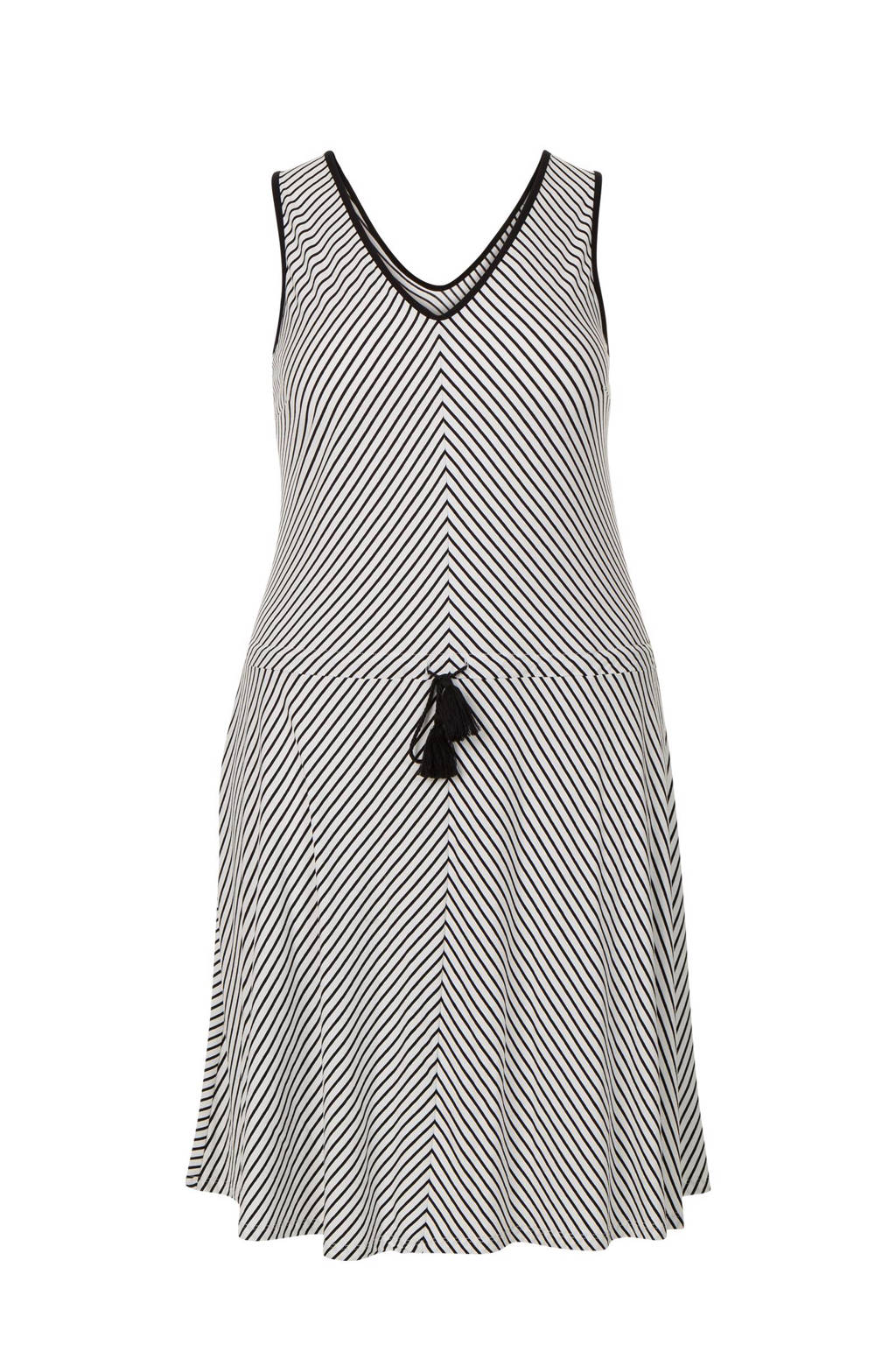 Miss Etam Plus gestreepte mouwloze jurk, Zwart/wit