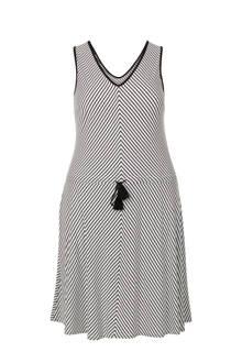 Plus gestreepte mouwloze jurk