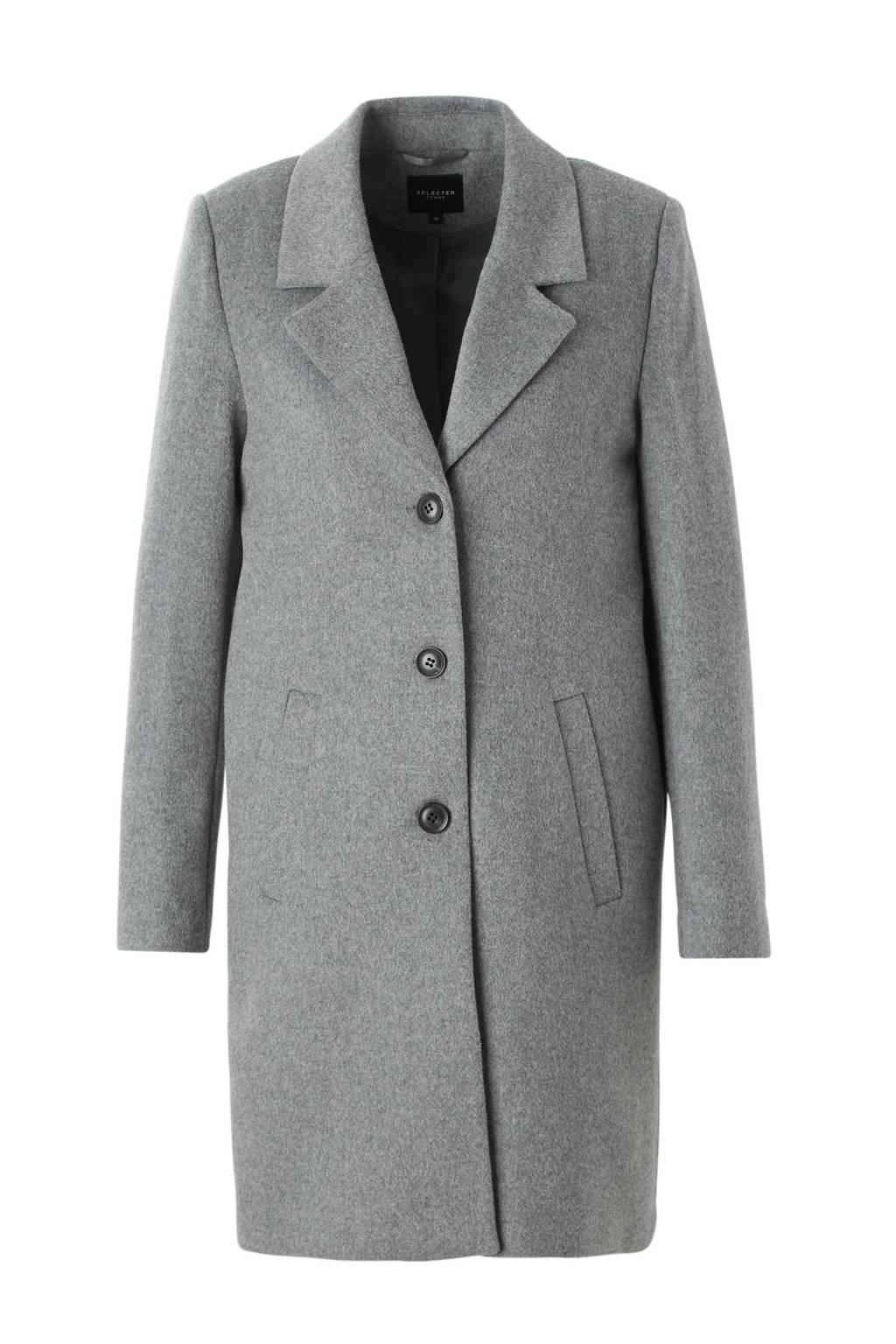 SELECTED FEMME coat met wol, Grijs