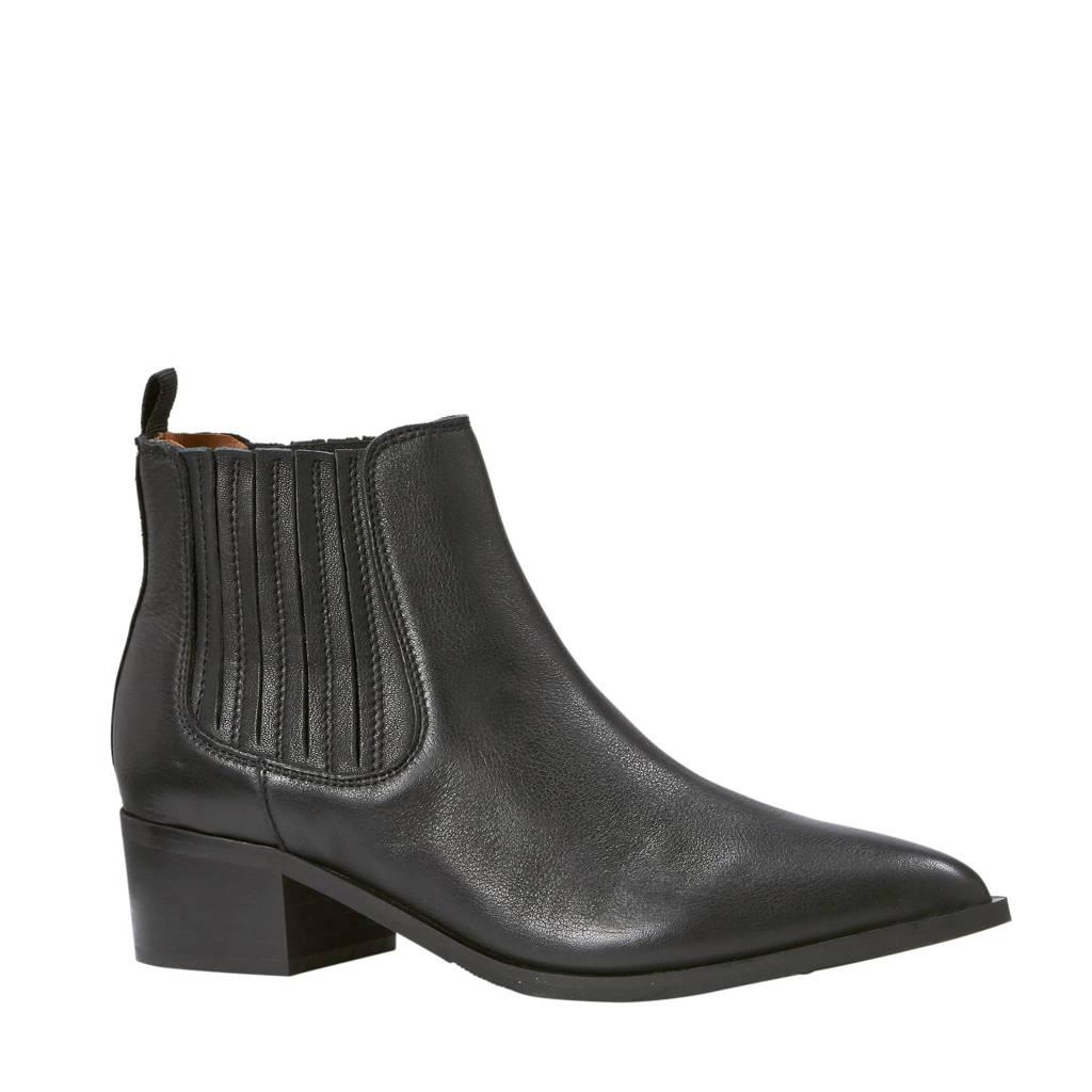 SELECTED FEMME   suède chelsea boots, Zwart