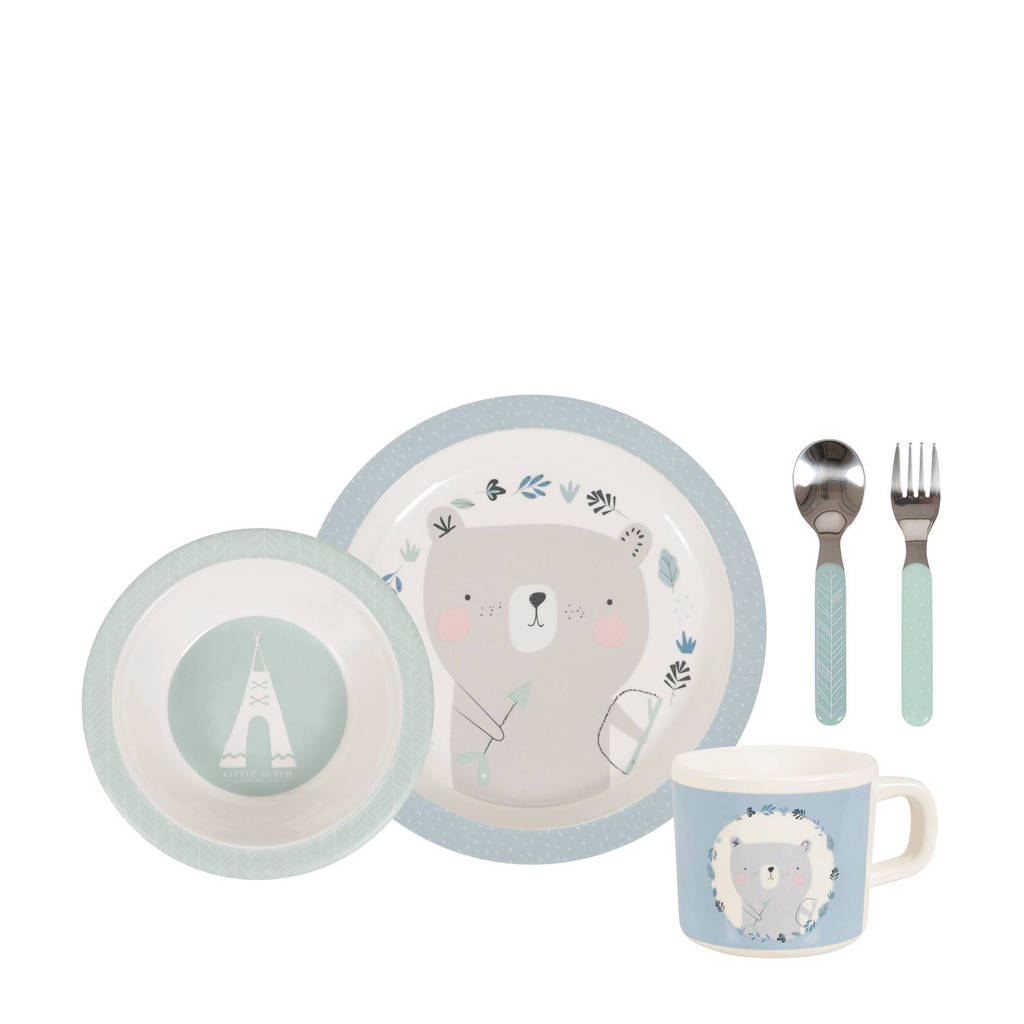 Little Dutch melamine 5 delige set blauw, Blauw