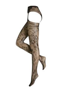 Leg Avenue jarretel net panty, Zwart