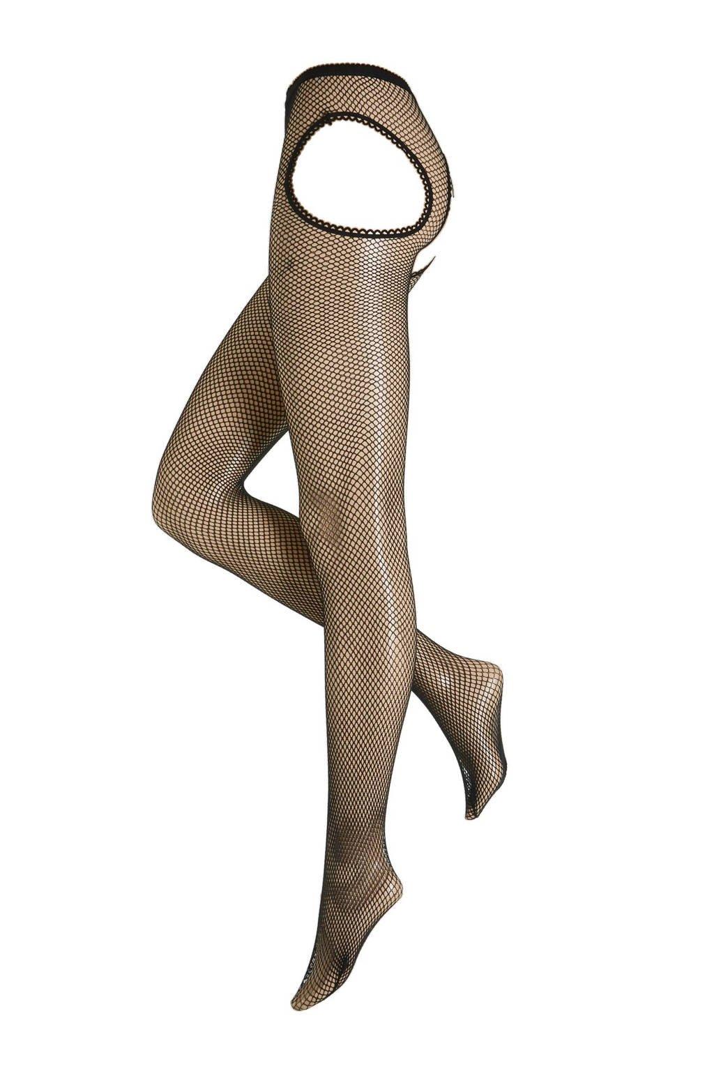 Leg Avenue jarretel fishnet panty, Zwart