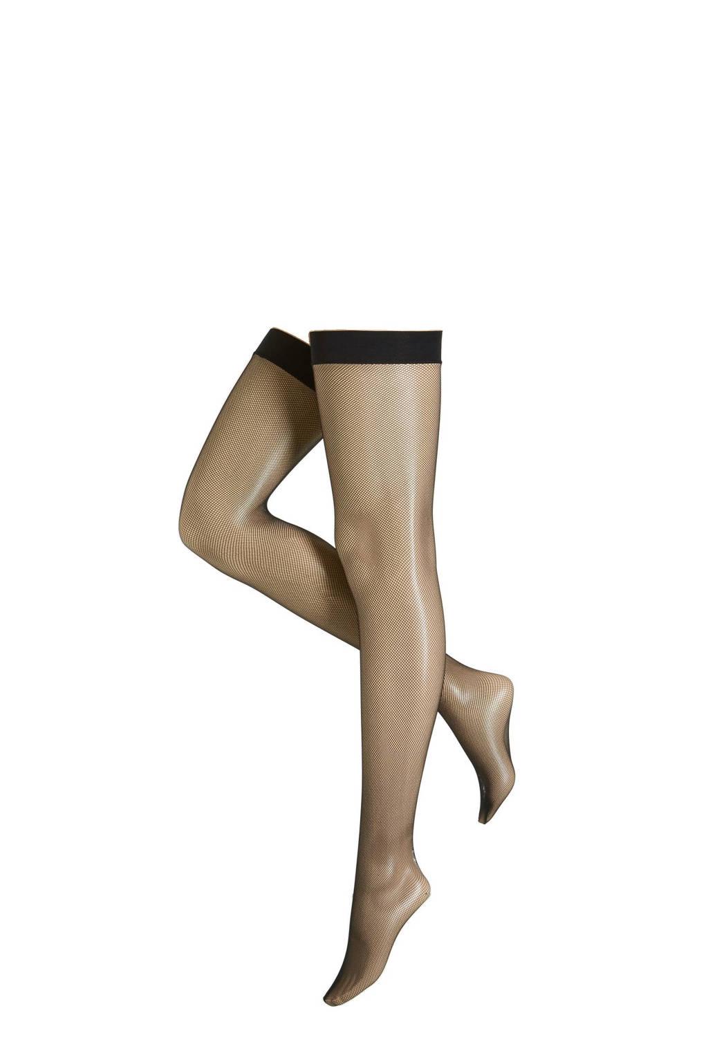 Leg Avenue jarretel net kousen +size, Zwart
