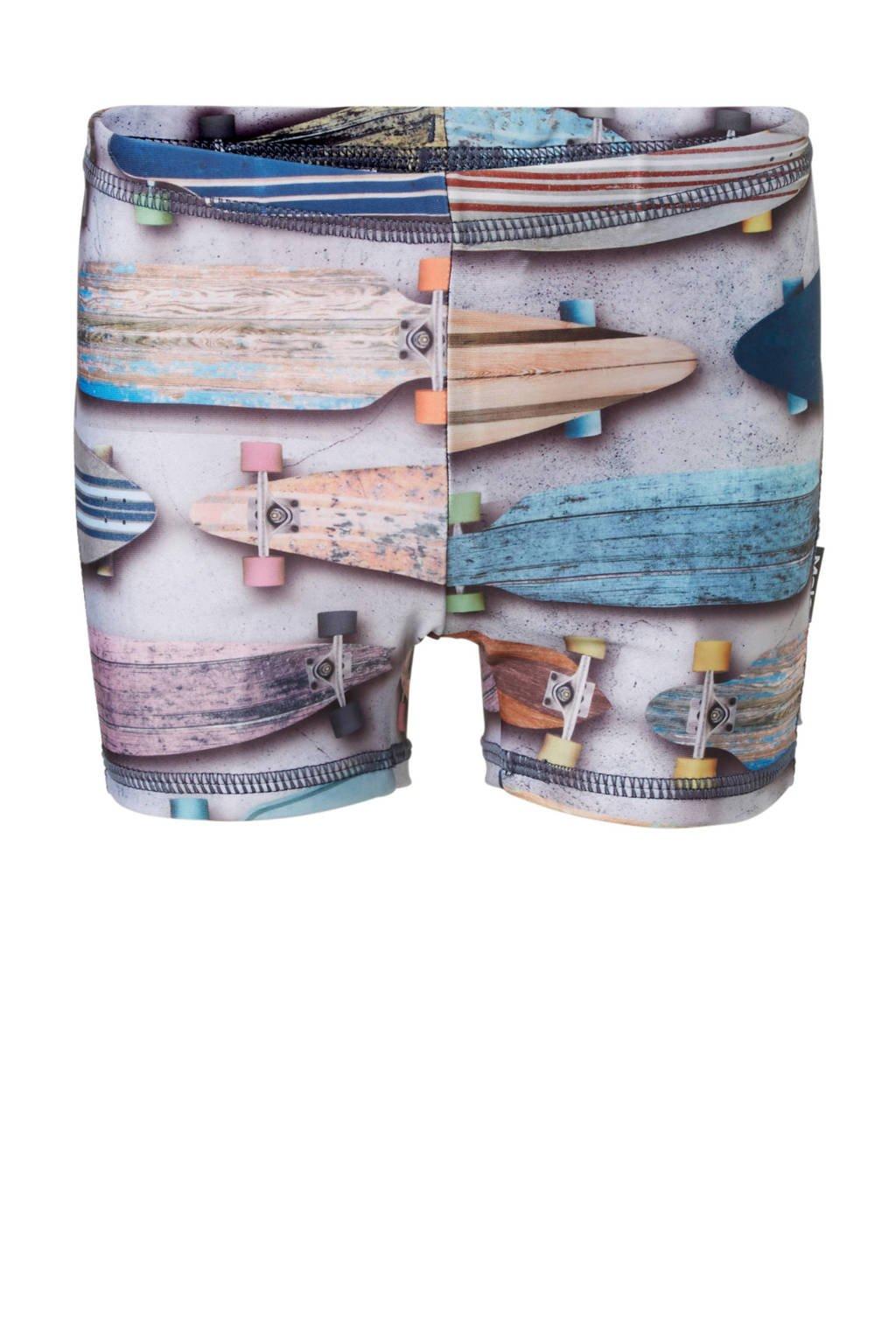 Molo zwemboxer in all over print grijs, Grijs/blauw/roze