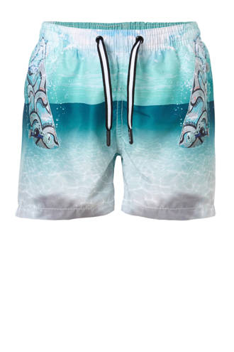 zwemshort in all over print groen