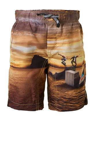 zwemshort in all over print bruin
