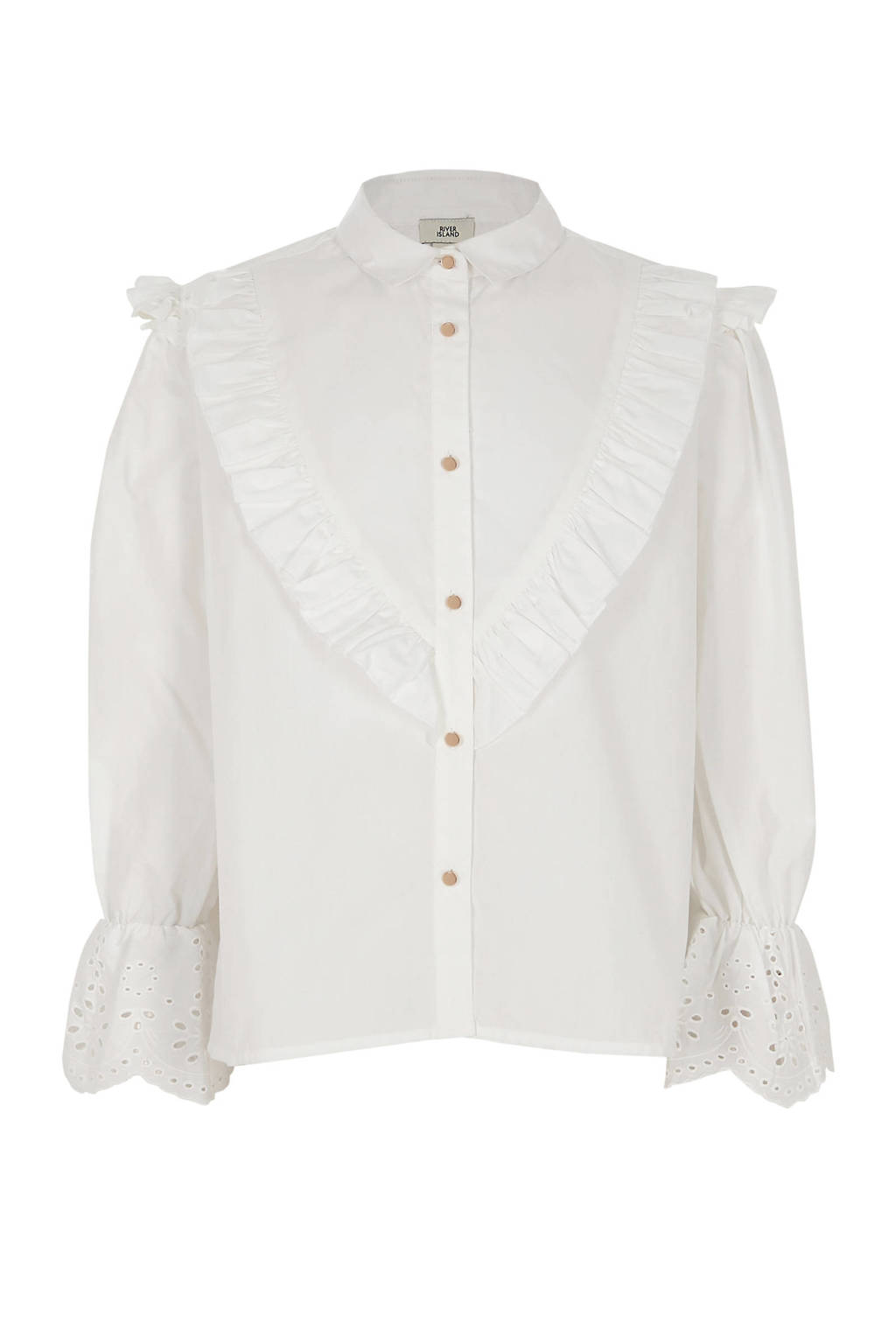 River Island blouse met ruches, Wit