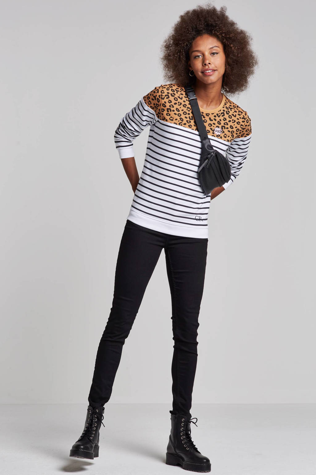 Colourful Rebel Striped Leopard sweater, Wit/bruin