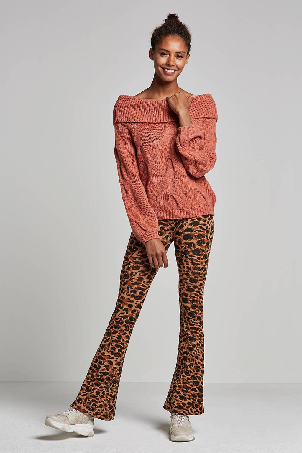 Colourful Rebel Leopard flared legging in een panterprint, Bruin/zwart