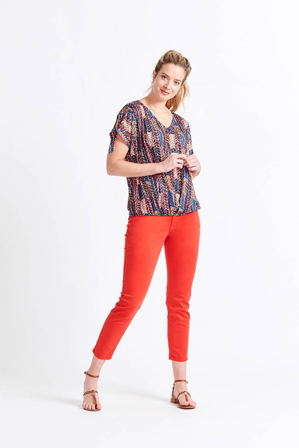 Miss Etam Regulier cropped slim fit broek rood, Rood