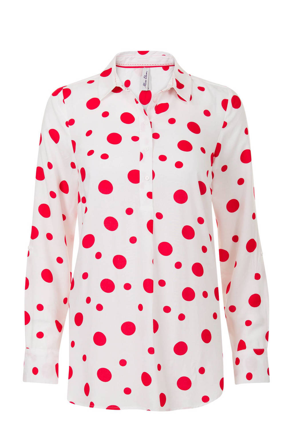 Miss Etam Regulier top met stippenprint wit - rood, Wit/rood