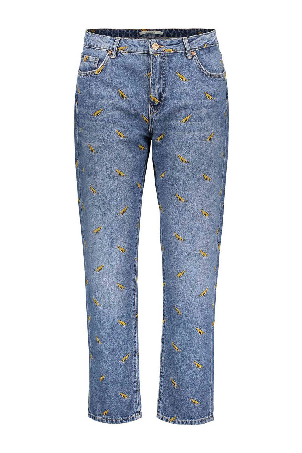 reputable site a4d98 f660f loose fit jeans met all over print en borduursels denim