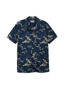 regular fit overhemd met all-over print blauw