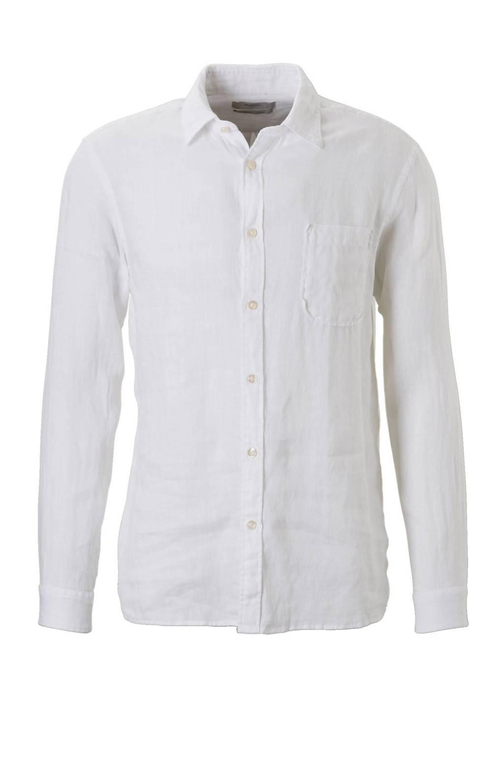 Linnen Overhemd Wit Heren.Mango Man Linnen Slim Fit Overhemd Wit Wehkamp