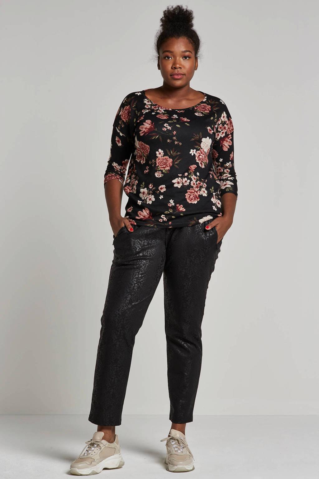 ONLY bloemen top, Zwart / roze / ecru