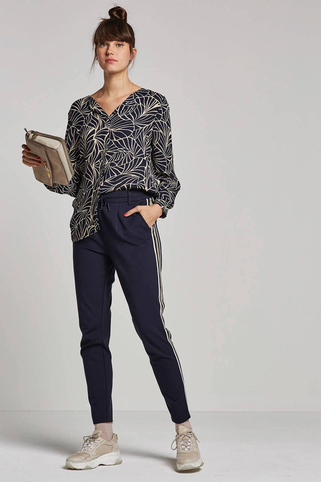 ONLY broek met zijstrepen, donkerblauw/wit/goud