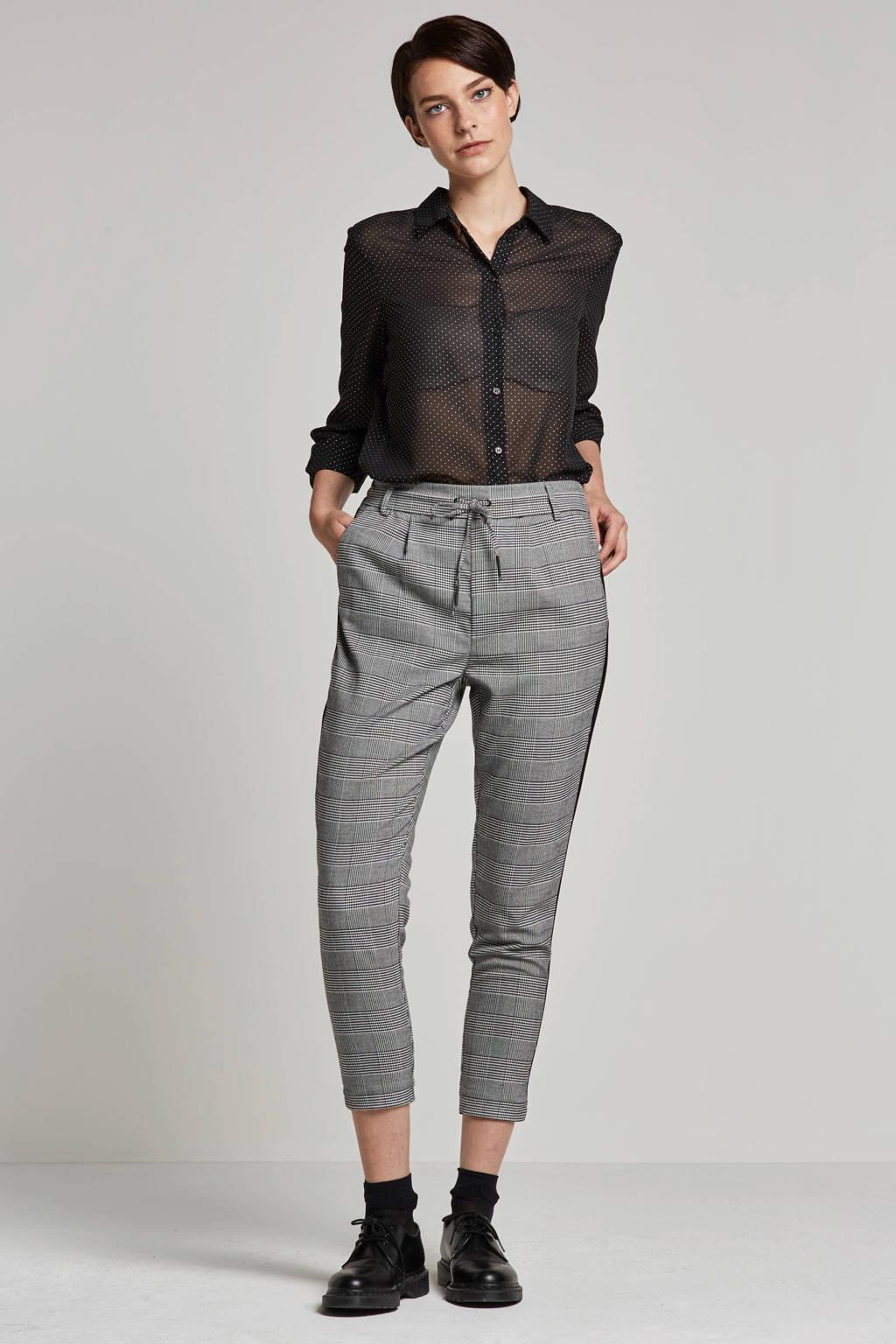 ONLY geruite broek, Wit/zwart