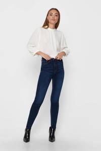 ONLY high waist skinny jeans ONLPAOLA dark blue denim, Donkerblauw