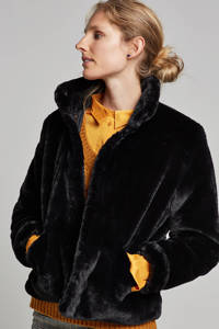 ONLY imitatiebont jas zwart, Zwart