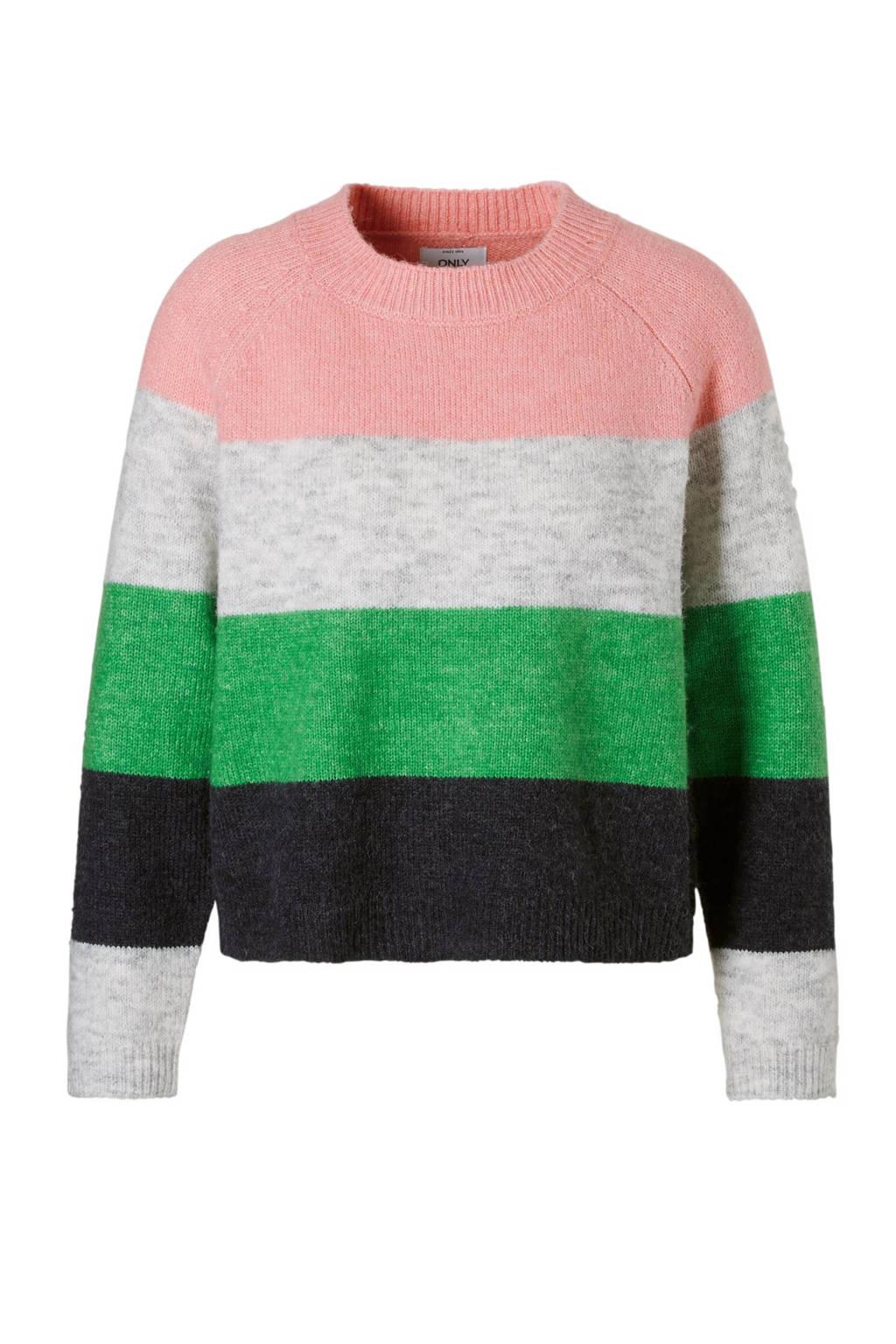ONLY trui met strepen, Grijs/roze/groen/donkerblauw