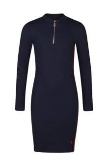 jurk met ribstructuur donkerblauw