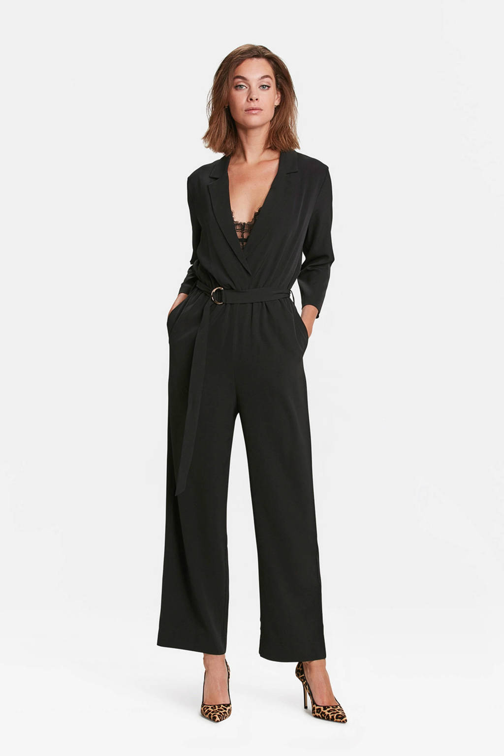 WE Fashion overslag jumpsuit zwart, Zwart
