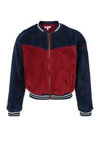 WE Fashion teddy bomberjack blauw/rood (meisjes)